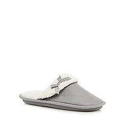 Lounge & Sleep - Grey suedette bow applique mule slippers