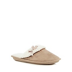 Lounge & Sleep - Beige suedette bow applique mule slippers