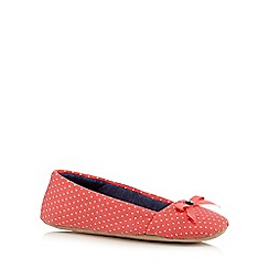 Lounge & Sleep - Dark peach polka dot ballet slippers