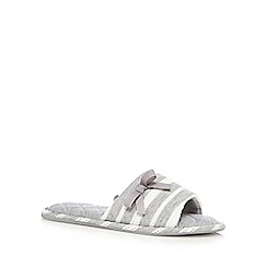 Lounge & Sleep - Grey striped open toe mule slippers