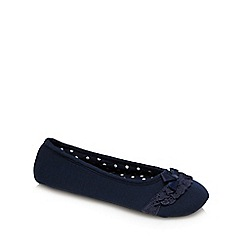 Lounge & Sleep - Navy lace trim bow applique ballet slippers