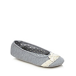 Lounge & Sleep - Grey lace trim bow applique ballet slippers