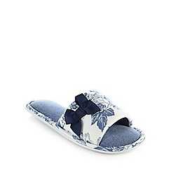 Lounge & Sleep - White and blue floral print open toe mule slippers