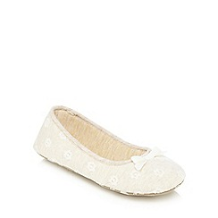 Lounge & Sleep - Beige floral Broderie Anglaise ballet shoes