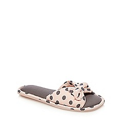 Lounge & Sleep - Pink polka dot print bow applique open toe mule slippers