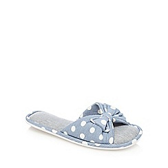 Lounge & Sleep - Blue polka dot print bow applique open toe mule slippers