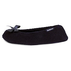 Isotoner - Black satin bow ballet slippers