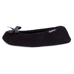 Isotoner - Black satin bow ballet slippers