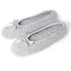 Isotoner - Grey satin bow ballet slippers