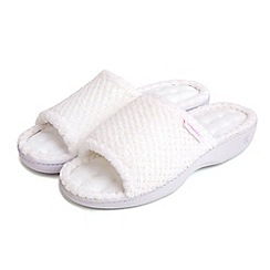 Isotoner - White open toe mule slippers