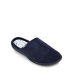 Isotoner - Navy suedette floral mule slippers
