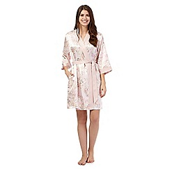The Collection - Pink floral short satin dressing gown