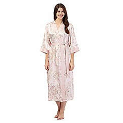 The Collection - Pink floral long satin dressing gown