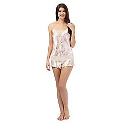 The Collection - Pink floral cami and short satin set
