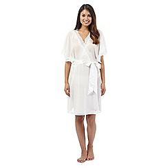 The Collection - Ivory chiffon short dressing gown