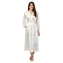The Collection - White satin lace insert long dressing gown