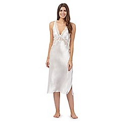 The Collection - Ivory satin lace trim long nightdress