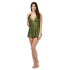 Presence - Green lace trim satin babydoll and briefs set