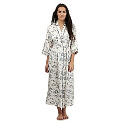 The Collection - Cream butterfly print long dressing gown