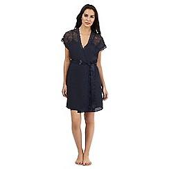 The Collection - Navy short lace detail dressing gown