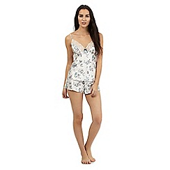 The Collection - Cream butterfly print cami and short set