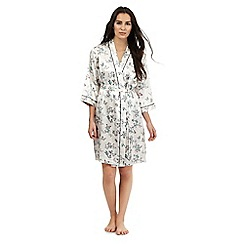 The Collection - Cream butterfly print short dressing gown