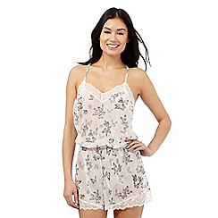 The Collection - Cream butterfly print lace trim teddy