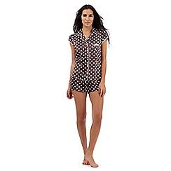 The Collection - Grey polka dot print pyjama shirt and shorts set