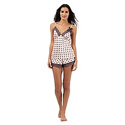The Collection - Pink polka dot print cami top and shorts set