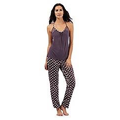 The Collection - Grey polka dot print cami top and pyjama bottoms set