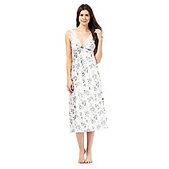 The Collection - Cream satin butterfly print long nightdress