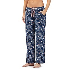 Mantaray - Navy wave and boat print pyjama bottoms