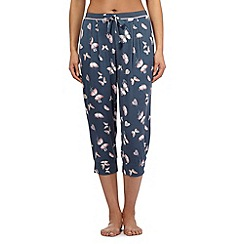 Gorgeous DD+ - Dark grey butterfly print cropped pyjama bottoms