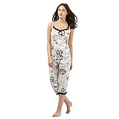 Gorgeous DD+ - White floral print hidden support pyjama cami top and bottoms set