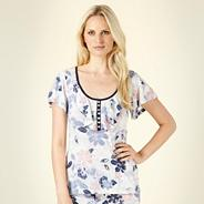 Blue sketched floral pyjama top