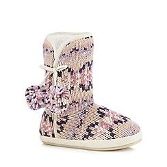 RJR.John Rocha - Pink geometric knit slipper boots