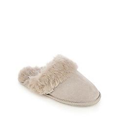 RJR.John Rocha - Grey suede faux fur mule slippers