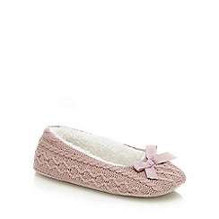 RJR.John Rocha - Pink cable knit bow applique ballet slippers