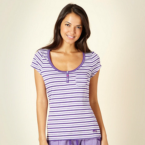 Presence - Purple alternating striped pyjama top