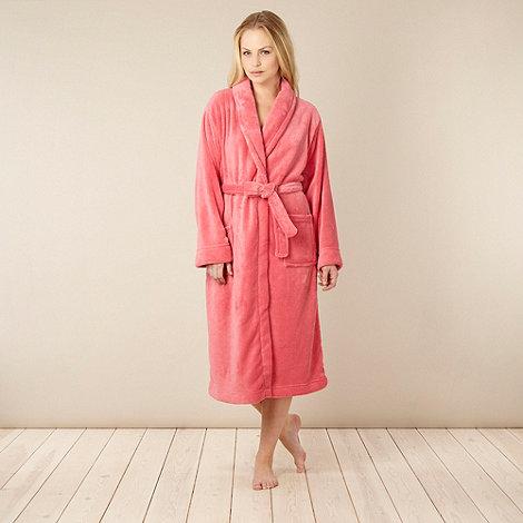 Lounge & Sleep - Dark peach fleece dressing gown