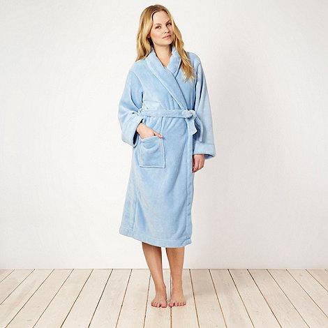 Lounge & Sleep - Light blue fleece dressing gown