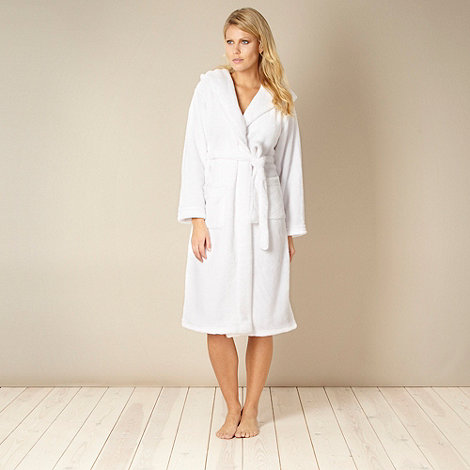 J by Jasper Conran - White hooded fleece dressing gown
