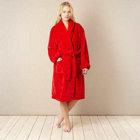 J by Jasper Conran - Red luxury fleece dressing gown