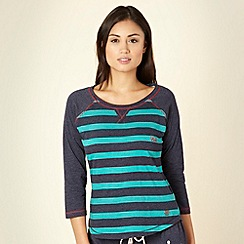 Iris & Edie - Designer green striped 3/4 sleeves top