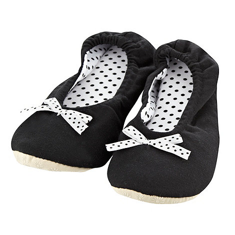 Presence - Black Polka Dot Bow Ballet Slippers