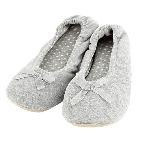 Presence - Grey Polka Dot Bow Ballet Slippers