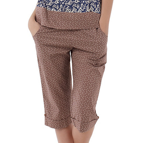 Freya - Taupe spotted cropped trousers
