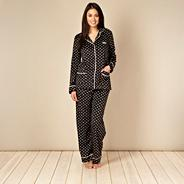 Black polka dot fleece pyjama set