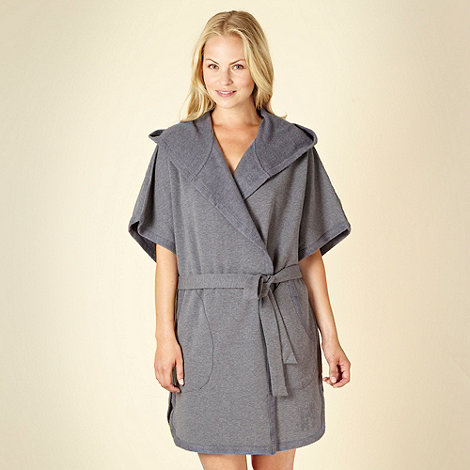DKNY - Grey hooded jersey dressing gown