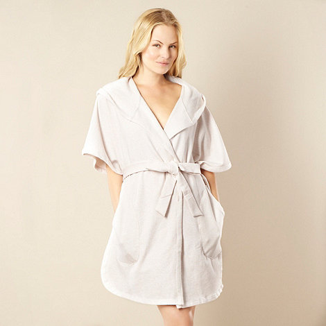 DKNY - Cream hooded jersey dressing gown